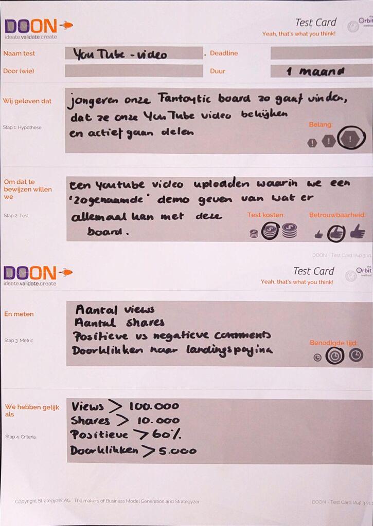 voorbeeld testcard lean startup